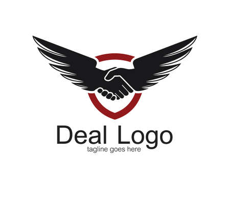 handshake symbol of deal and cooperation vector logo design template with a pair of wings Ilustração