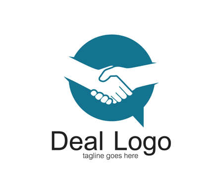 handshake symbol of deal and cooperation vector logo design template inside a bubble chat Ilustração