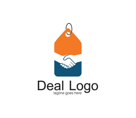 handshake symbol of deal and cooperation vector logo design template inside a price tag