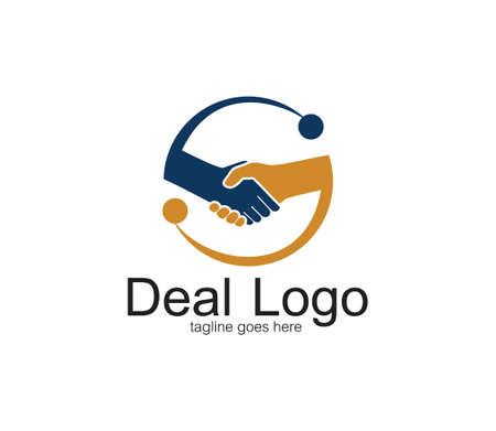 handshake symbol of deal and cooperation vector logo design template inside a circle with abstract s letter
