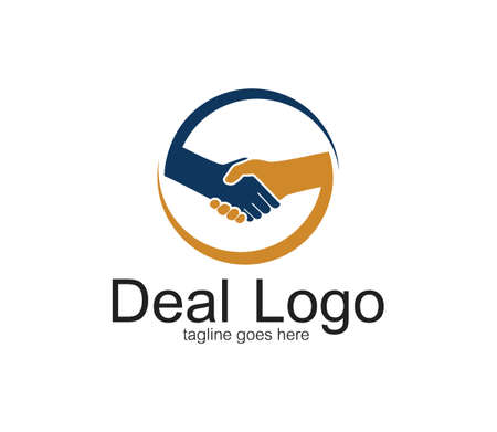 handshake symbol of deal and cooperation vector logo design temploate inside a circle
