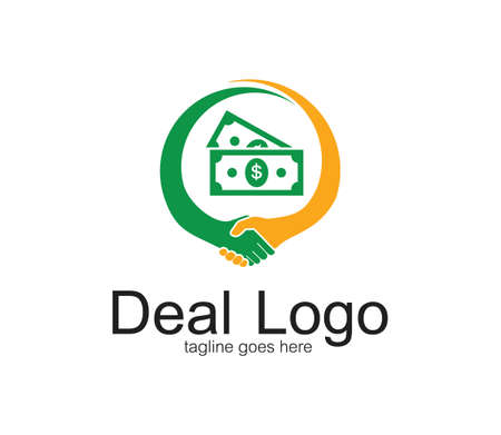handshake symbol of deal and cooperation vector logo design template with money inside circle
