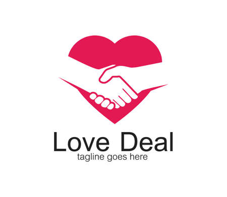 handshake symbol of deal and cooperation vector logo design template inside a heart symbol Ilustração