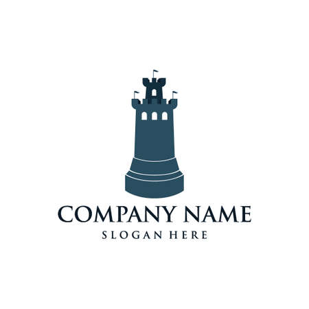 stronghold castle tower vector logo design template like rook chess piece