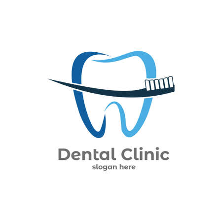 dental health clinic service vector logo design template with tooth brush Çizim