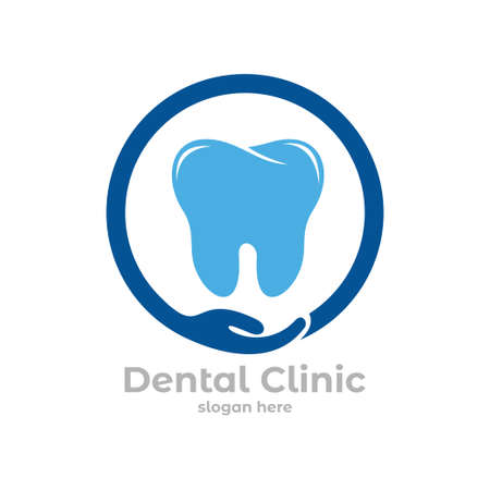 dental health clinic service vector logo design template inside circle with open hand Çizim