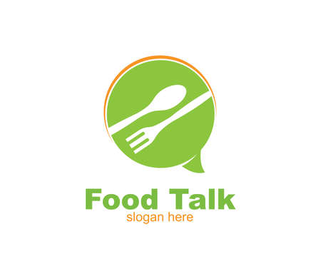 spoon fork and chat bubble for food restaurant cafe eatery vector logo design template Illustration
