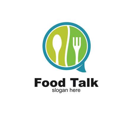 fourchette cuillère et bulle de discussion pour la nourriture restaurant café restaurant modèle de conception de logo vectoriel