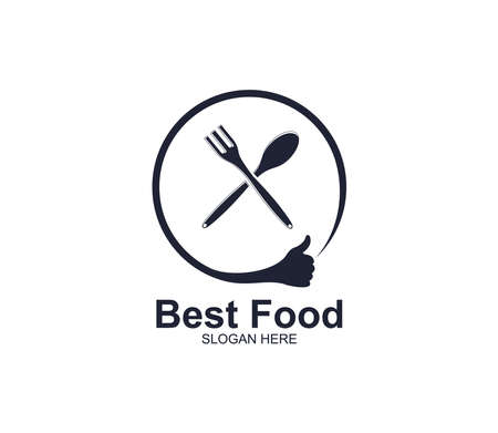 spoon and fork with thumb sign food restaurant cafe eatery vector logo design template Stock Vector - 129786264