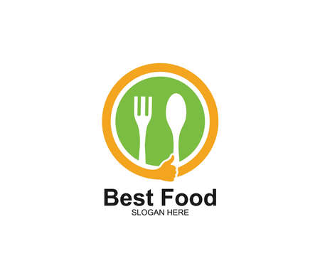 spoon and fork with thumb sign food restaurant cafe eatery vector logo design template Stock Vector - 129786265
