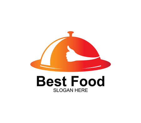 thumb sign serving plate food restaurant cafe eatery vector logo design template