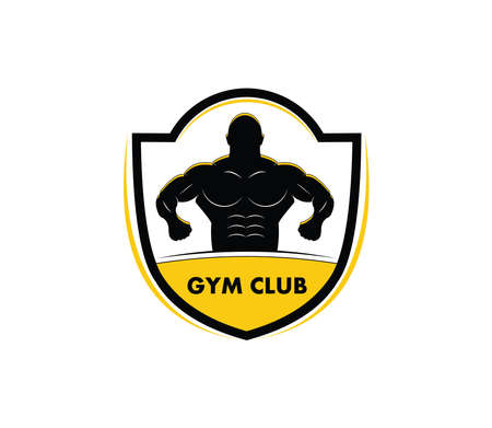 muscle man body silhouette inside an emblem for gymnastic body building vector logo design template Illustration