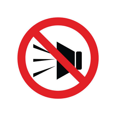 no voice, speak, noise prohibition symbol for sign or icon vector in red color template
