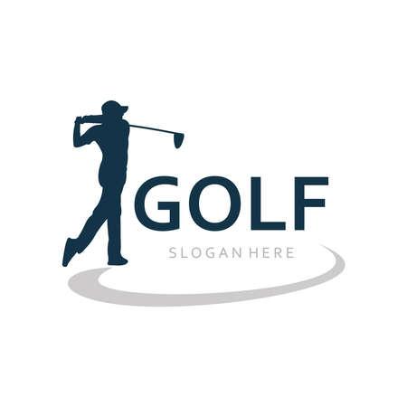 golf player swing hit the ball illustration vector logo design template