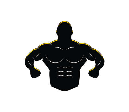 muscle man body silhouette for gymnastic body building vector logo design template