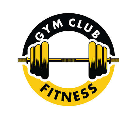 barbell inside an emblem for gymnastic body building vector logo design template 矢量图像