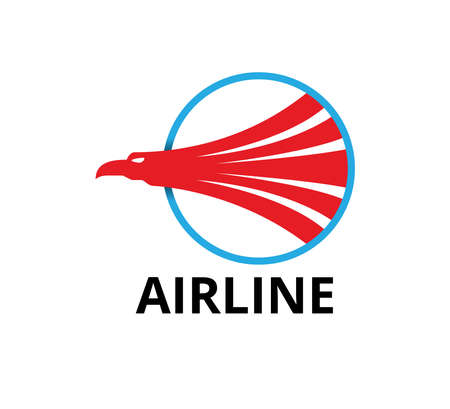 majestic eagle head inside blue circle for airline business vector logo graphic design template