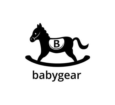 cavallo nero in legno con lettera b per modello di progettazione grafica logo vettoriale aziendale giocattolo per bambini Logo