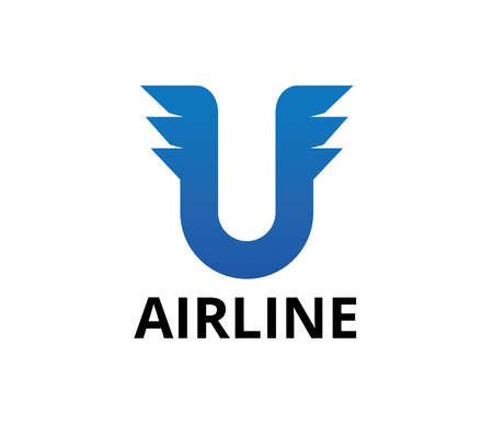 letter u with a pair of three flaps for airline business vector logo graphic design template