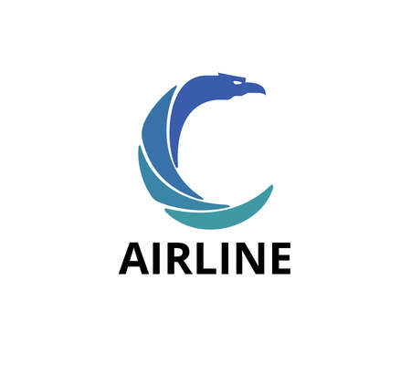 letter c with majestic eagle head for airline business vector logo graphic design template