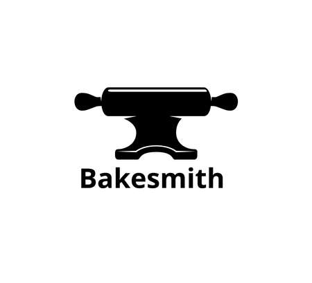rolling pin and anvil combine concept for bakery business vector logo graphic design template