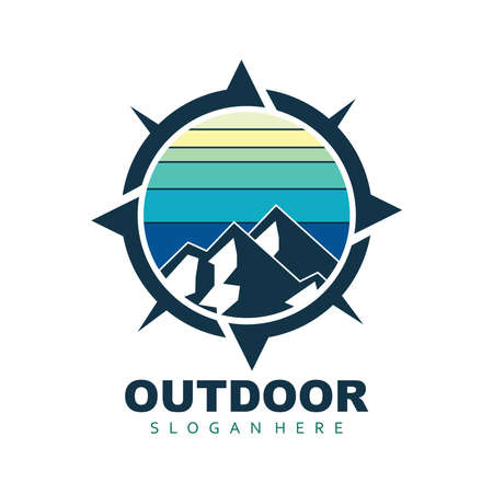 mountain outdoor sport adventure for camping gear vector logo design template 矢量图像