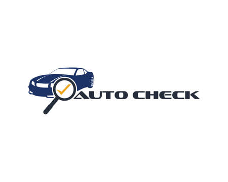 automotive car with magnifying glass and check mark vector logo design template