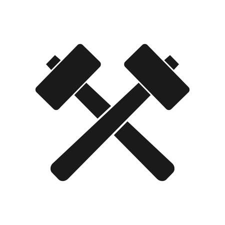crossed hammer blacksmith crafting laying on the ground vector logo design template