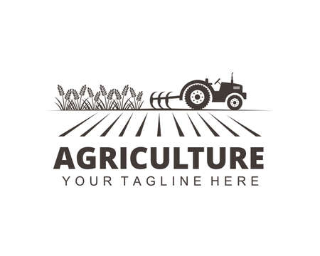 farm agriculture crop with tractor vector logo design template Çizim