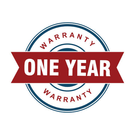 red one year warranty badge or medal for product attribution vector design template