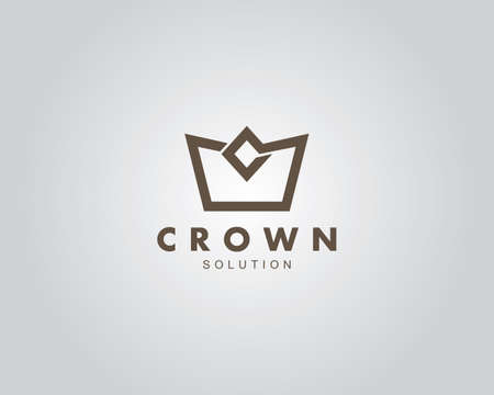 simple and sophisticated crown vector logo design template for jewelry, fabrication and clothing brand