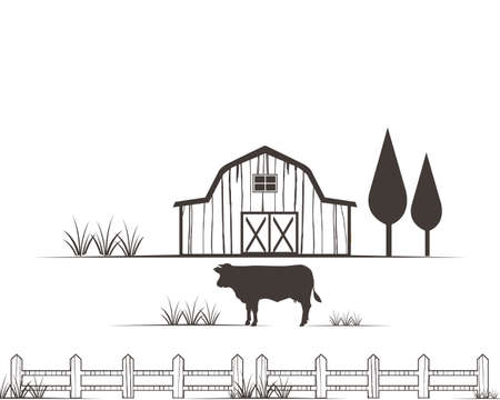 farm agriculture crop with barn and cow vector logo design template Çizim