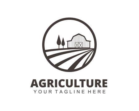 farm house agriculture crop field vector logo design template Çizim