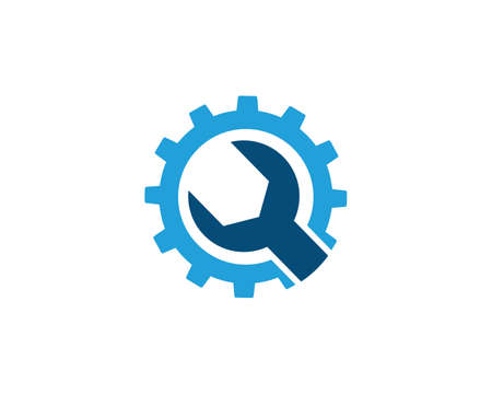 wrench inside a gear for repair workshop service vector logo design template