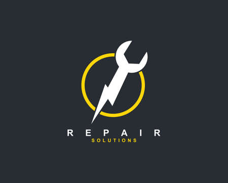 image combination of wrench and electrical symbol for repair workshop service vector logo design template