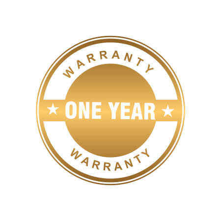 gold one year warranty badge or medal for product attribution vector design template
