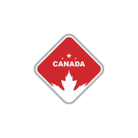 red canada maple leaf in square vector logo design template Çizim