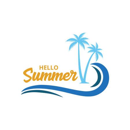 summer beach sunrise with coconut tree theme vector logo design template