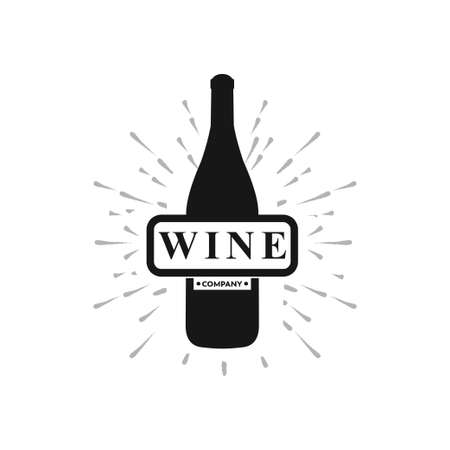 wine company with bottle in black color vector logo design template
