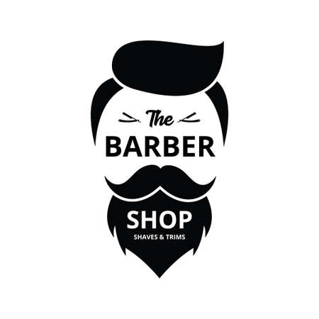 barbershop hair, mustache and beard trims and shave vector logo design template