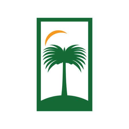 date tree fruit palm vector logo design template