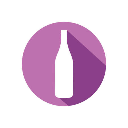 wine company with bottle inside circle in purple color vector logo design template