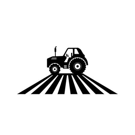 tractor farm agriculture machine land cultivation vector logo design template