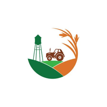 rolnictwo pole kukurydzy farma przemysł wektor logo szablon projektu z ciągnikiem i wieżą ciśnień na środku wzgórza