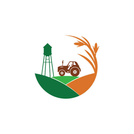 agriculture corn field farm industry vector logo design template with tractor and water tower in the middle of the hill