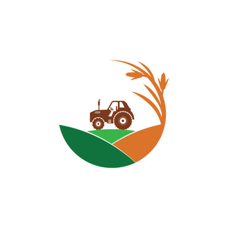 agriculture corn field farm industry vector logo design template with tractor in the middle of the hill