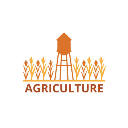 agriculture corn field farm industry vector logo design template with water tower in the middle of the field