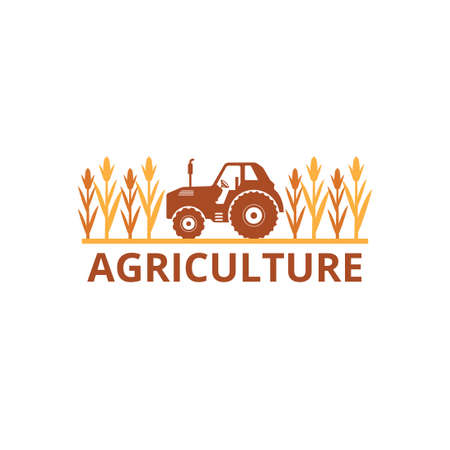 agriculture corn field farm industry vector logo design template with tractor in the land Illusztráció