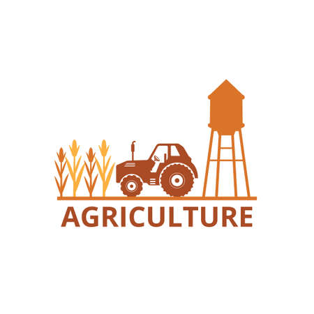 agriculture corn field farm industry vector logo design template with tractor and water tower in the land Illusztráció