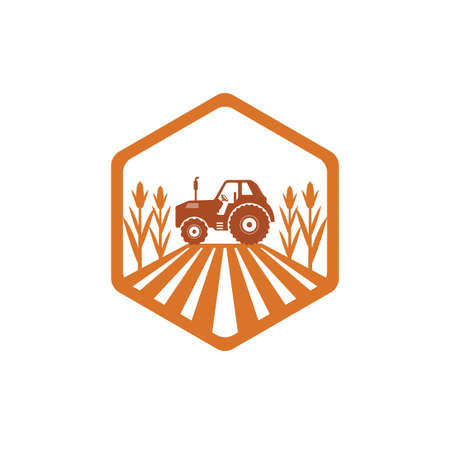agriculture corn field farm industry vector logo design template with tractor in the land inside polygon